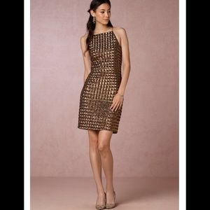 BHLDN by Mestiza Jenna dress gold sequined  10 NEW